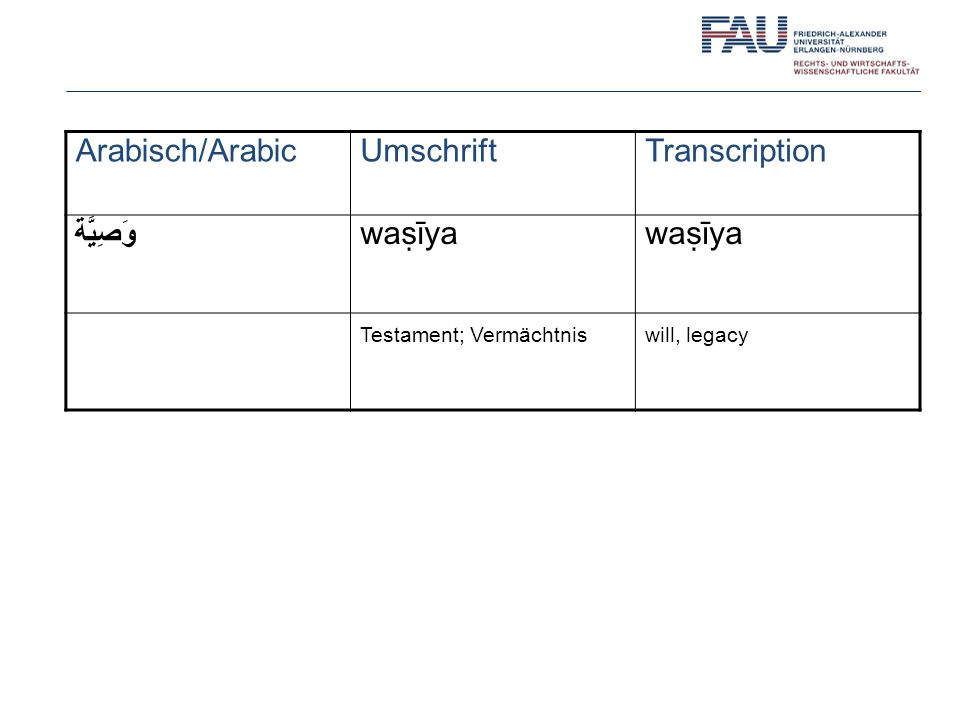 Arabisch/Arabic Umschrift Transcription وَصِيَّة waṣīya