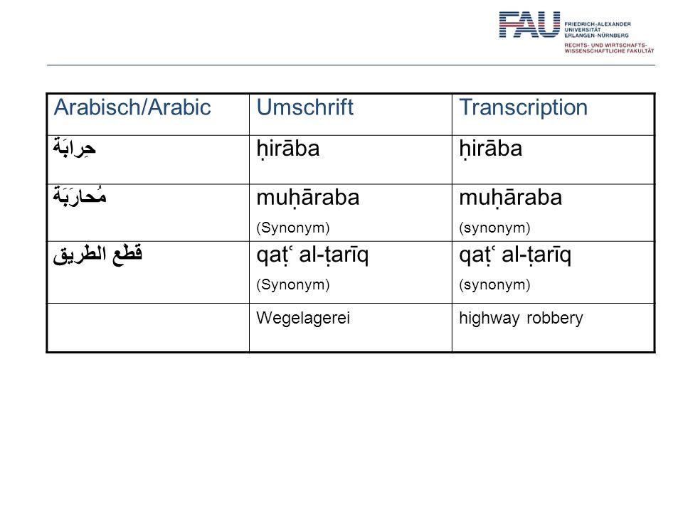 Arabisch/Arabic Umschrift Transcription حِرابَة ḥirāba مُحارَبَة