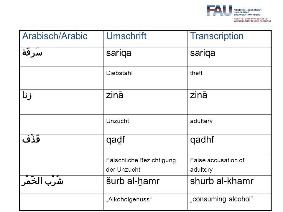 Arabisch/Arabic Umschrift Transcription سَرِقَة sariqa زِنا zinā قَذْف