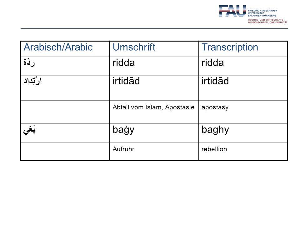 Arabisch/Arabic Umschrift Transcription رِدّة ridda ارْتِداد irtidād