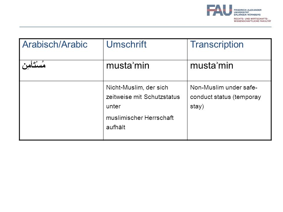Arabisch/Arabic Umschrift Transcription مُسْتَأمِن mustaʾmin