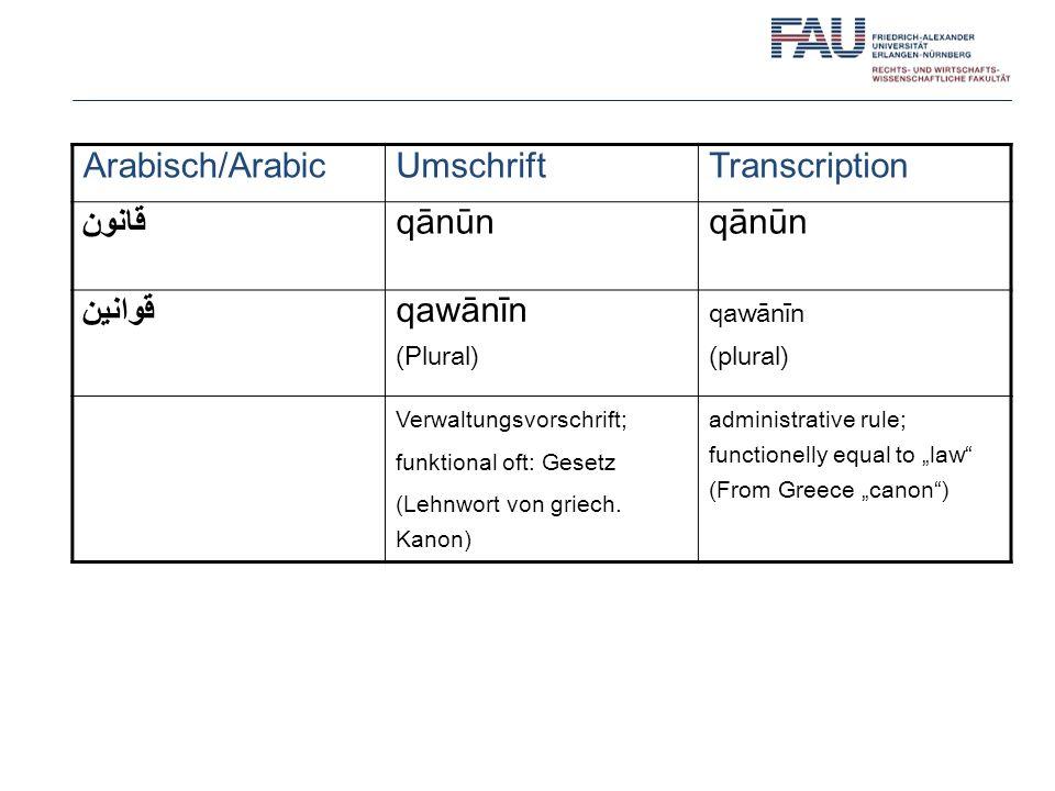 Arabisch/Arabic Umschrift Transcription قانون qānūn قَوانين qawānīn