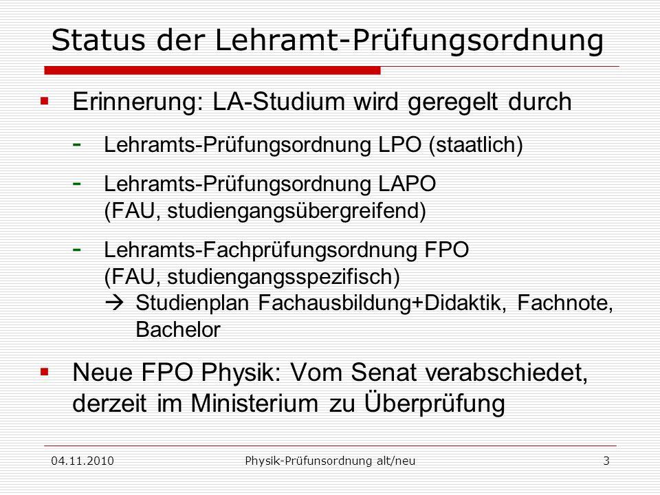 Status der Lehramt-Prüfungsordnung
