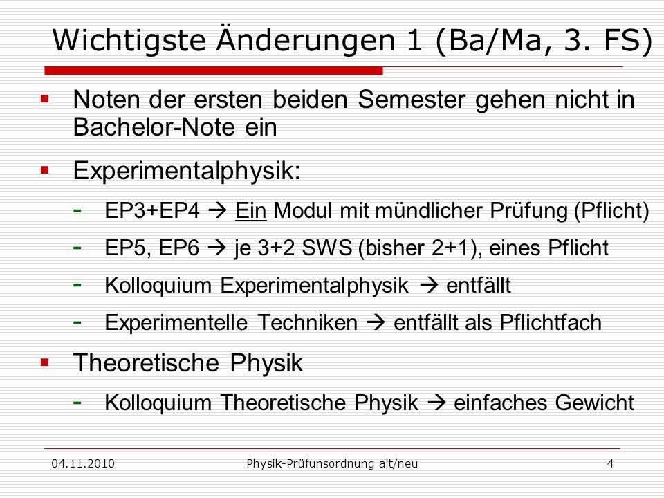 Wichtigste Änderungen 1 (Ba/Ma, 3. FS)