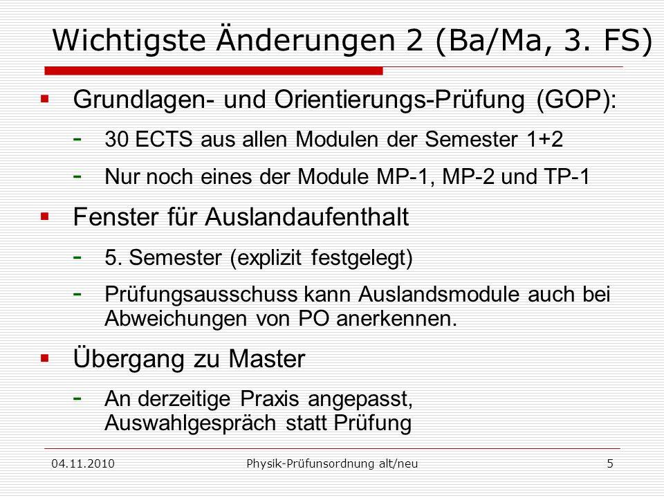 Wichtigste Änderungen 2 (Ba/Ma, 3. FS)