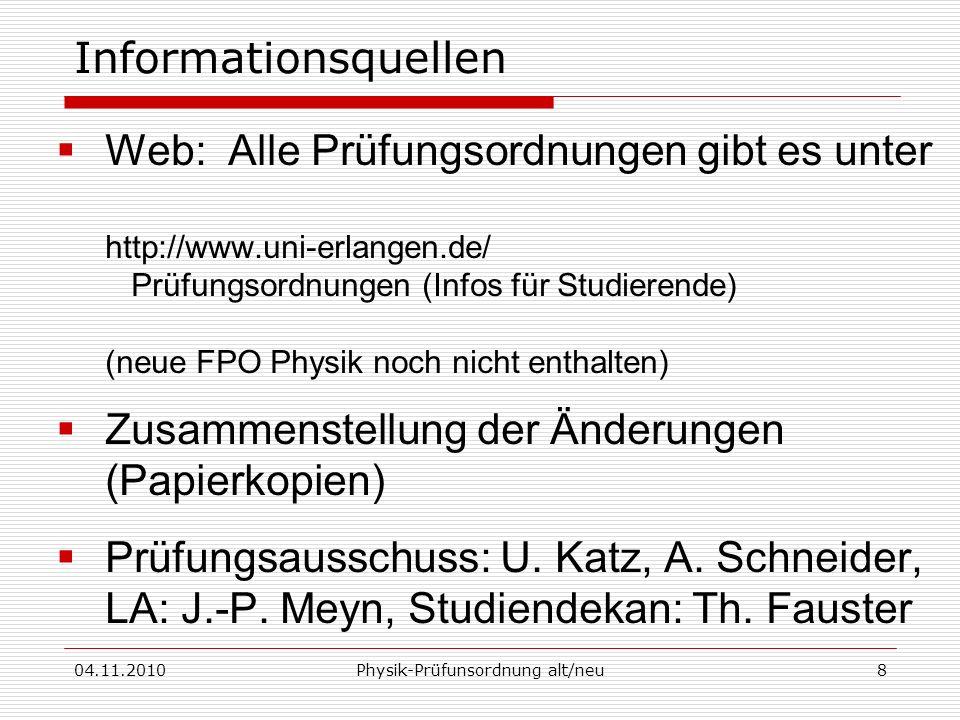 Physik-Prüfunsordnung alt/neu