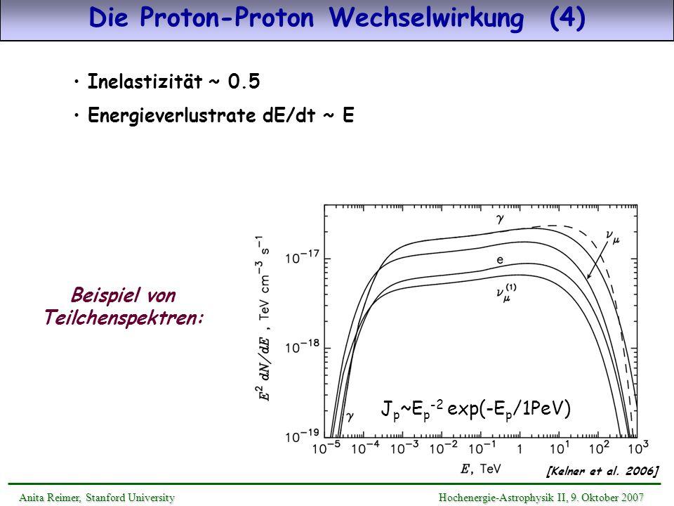 Die Proton-Proton Wechselwirkung (4) Beispiel von Teilchenspektren: