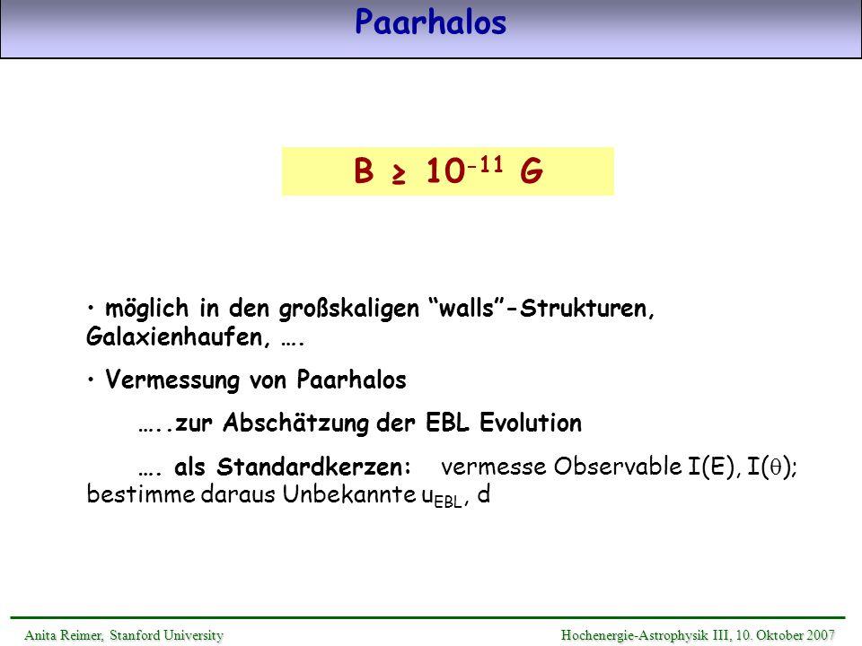 Paarhalos B ≥ 10-11 G. möglich in den großskaligen walls -Strukturen, Galaxienhaufen, …. Vermessung von Paarhalos.