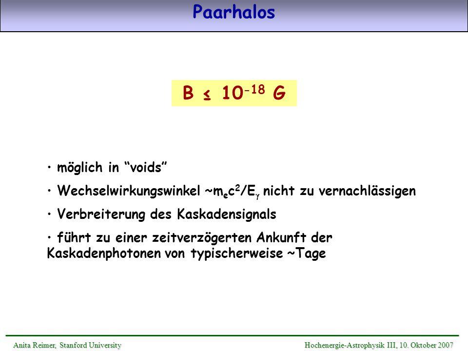 Paarhalos B ≤ 10-18 G möglich in voids