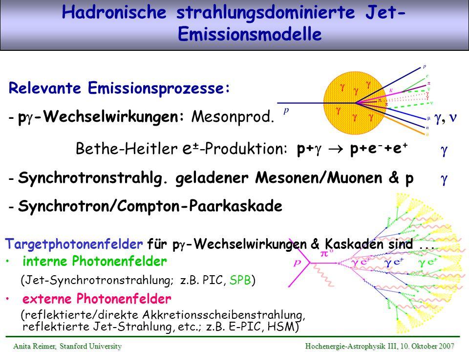 Hadronische strahlungsdominierte Jet-Emissionsmodelle