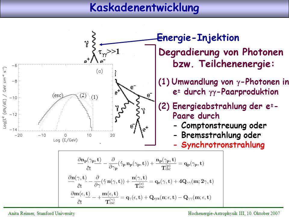 Kaskadenentwicklung Energie-Injektion
