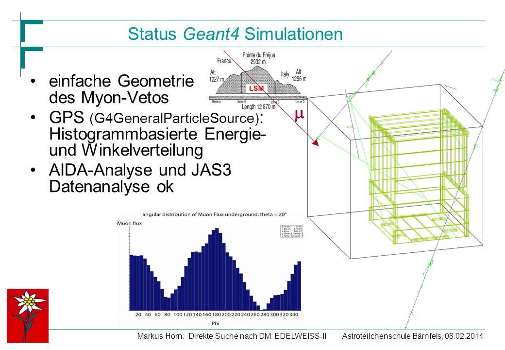 Status Geant4 Simulationen