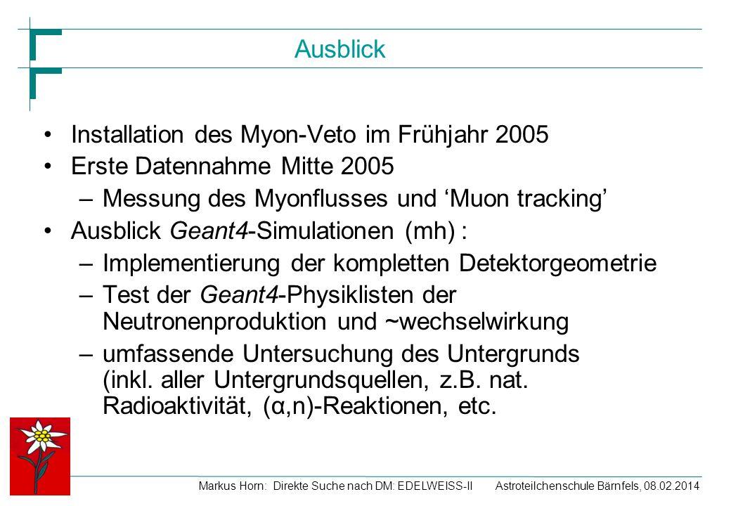 Markus Horn: Direkte Suche nach DM: EDELWEISS-II