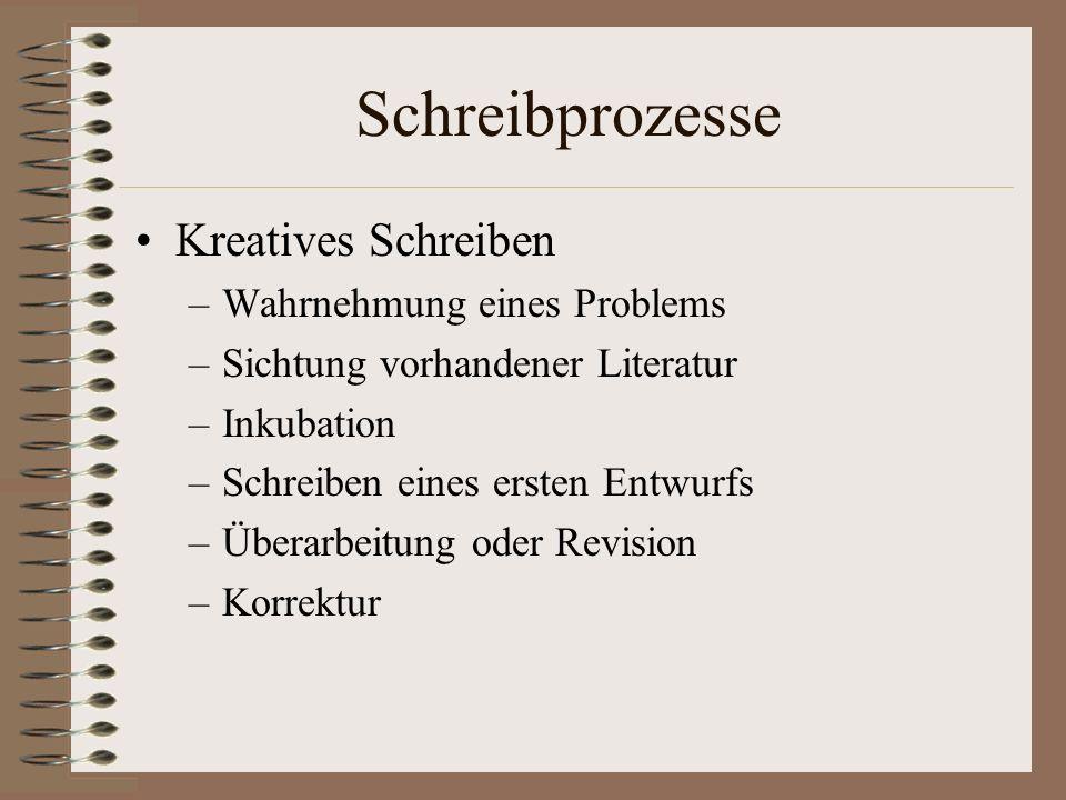 Schreibprozesse Kreatives Schreiben Wahrnehmung eines Problems