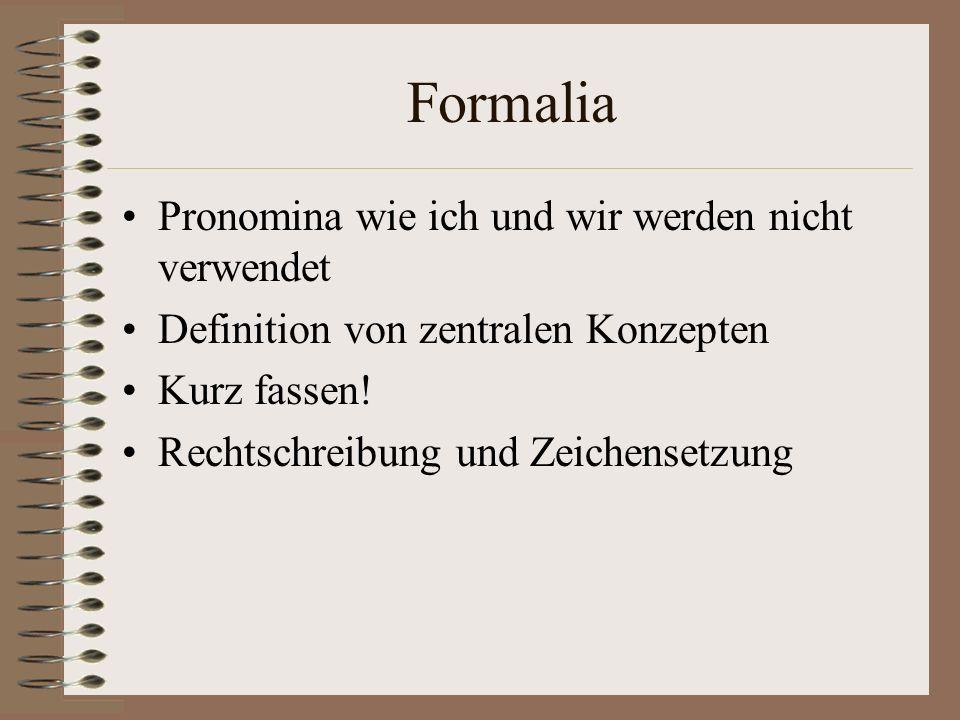 Formalia Pronomina wie ich und wir werden nicht verwendet