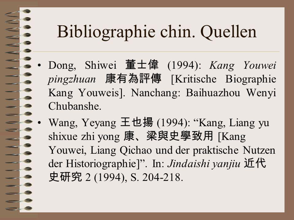 Bibliographie chin. Quellen