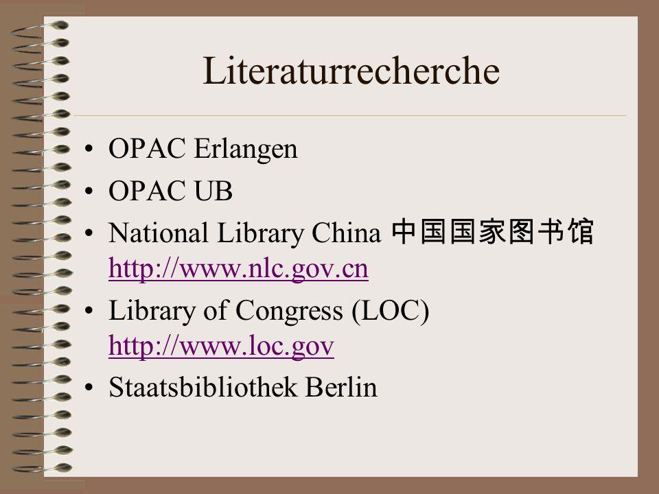 Literaturrecherche OPAC Erlangen OPAC UB