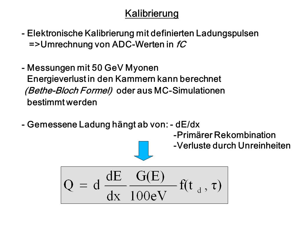 Kalibrierung- Elektronische Kalibrierung mit definierten Ladungspulsen. =>Umrechnung von ADC-Werten in fC.