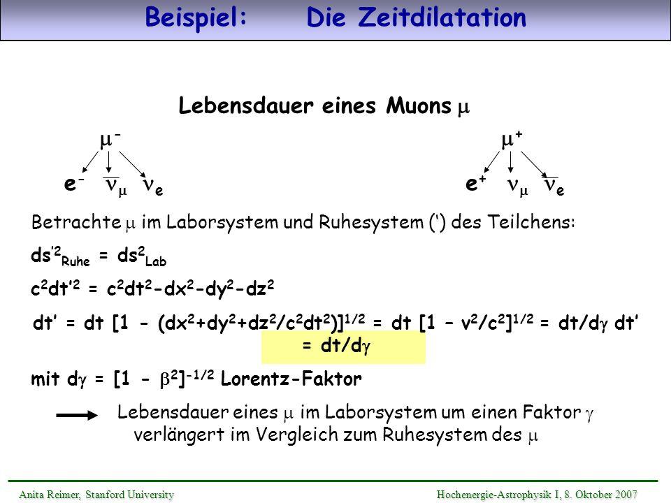 Beispiel: Die Zeitdilatation Lebensdauer eines Muons m
