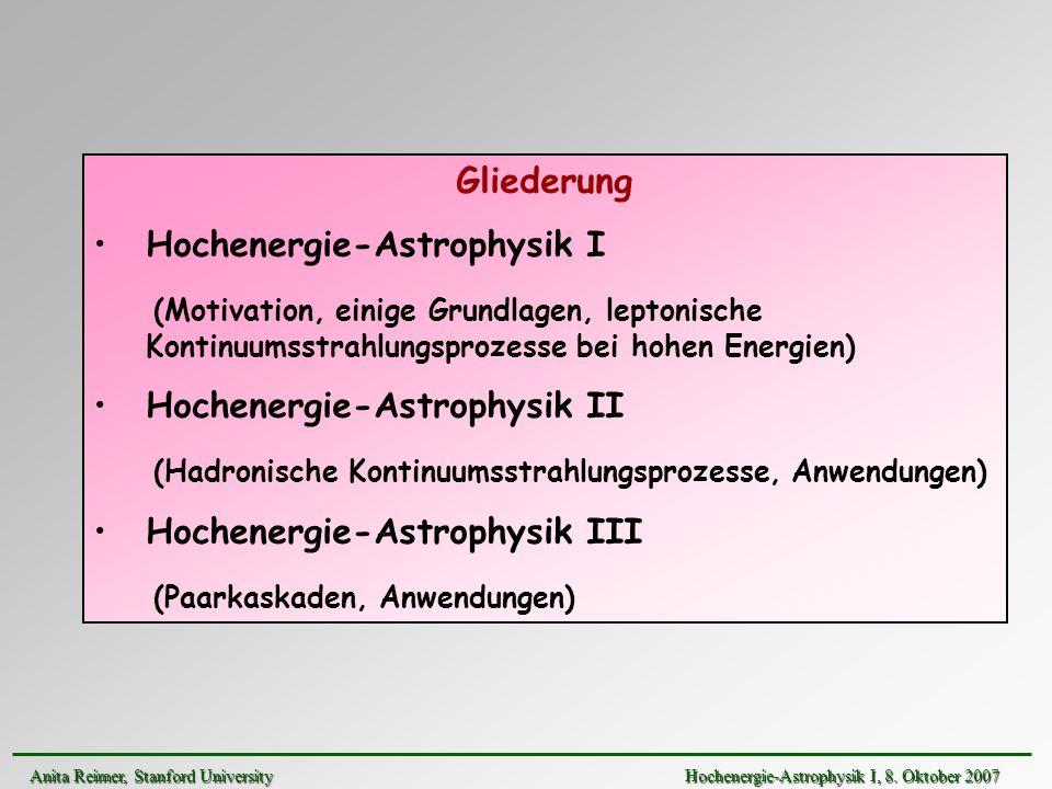 Hochenergie-Astrophysik I