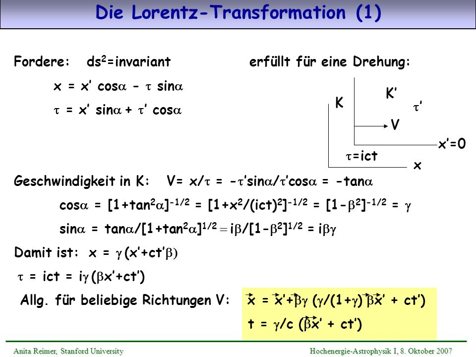 Die Lorentz-Transformation (1)