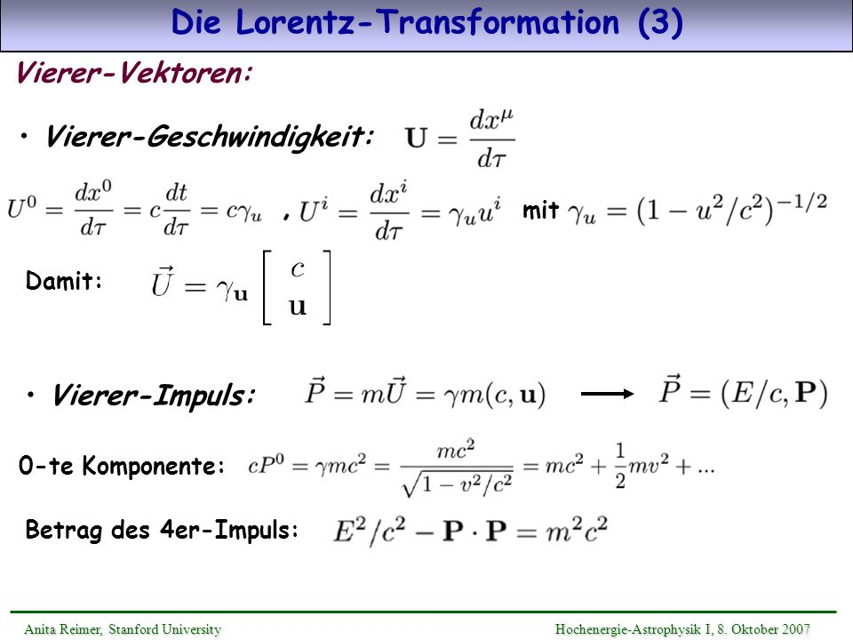 Die Lorentz-Transformation (3)