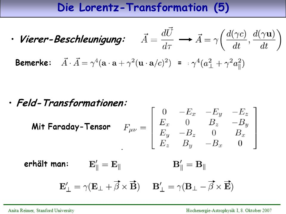 Die Lorentz-Transformation (5)