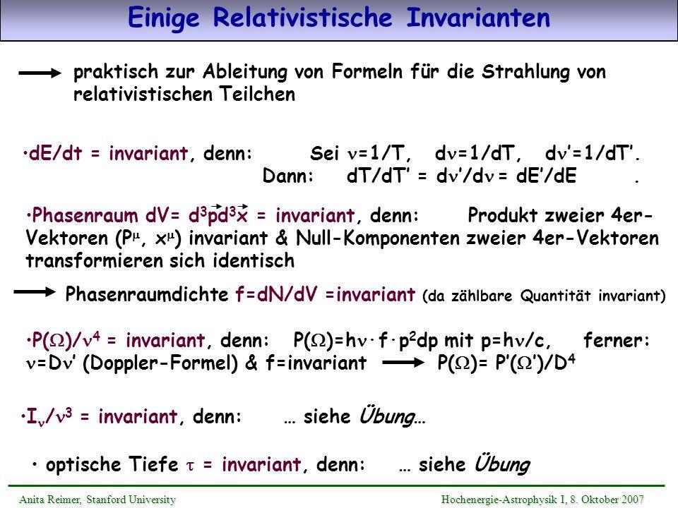 Einige Relativistische Invarianten