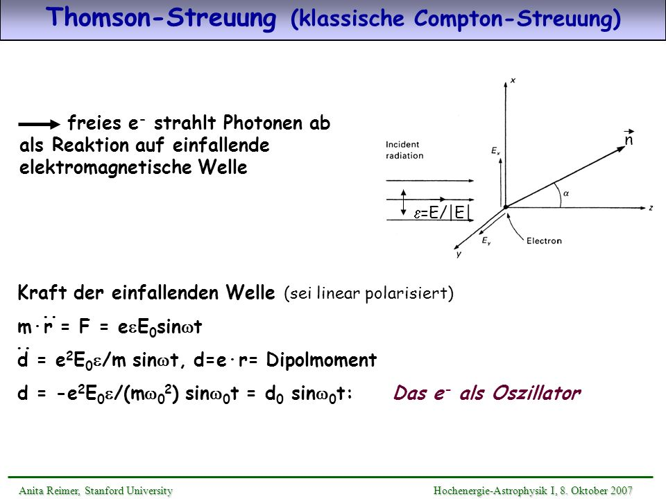Thomson-Streuung (klassische Compton-Streuung)