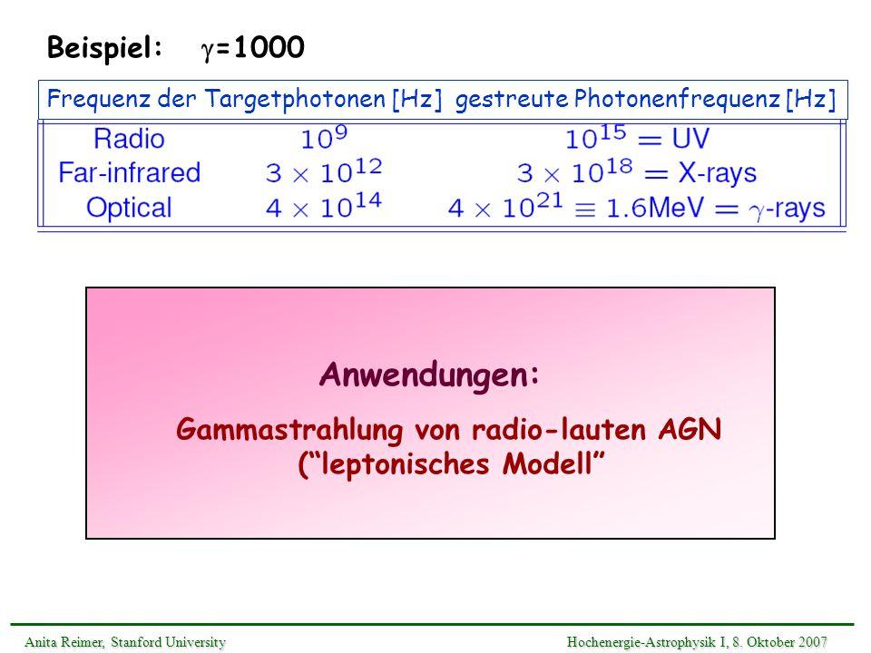 Gammastrahlung von radio-lauten AGN ( leptonisches Modell