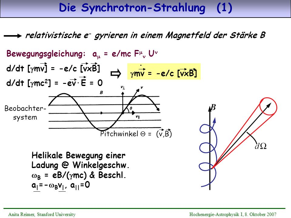 Die Synchrotron-Strahlung (1)