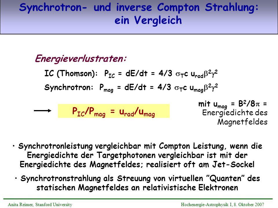Synchrotron- und inverse Compton Strahlung: ein Vergleich