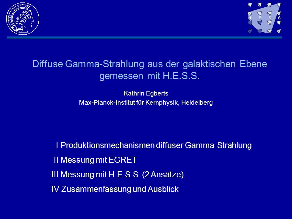 Kathrin Egberts Max-Planck-Institut für Kernphysik, Heidelberg