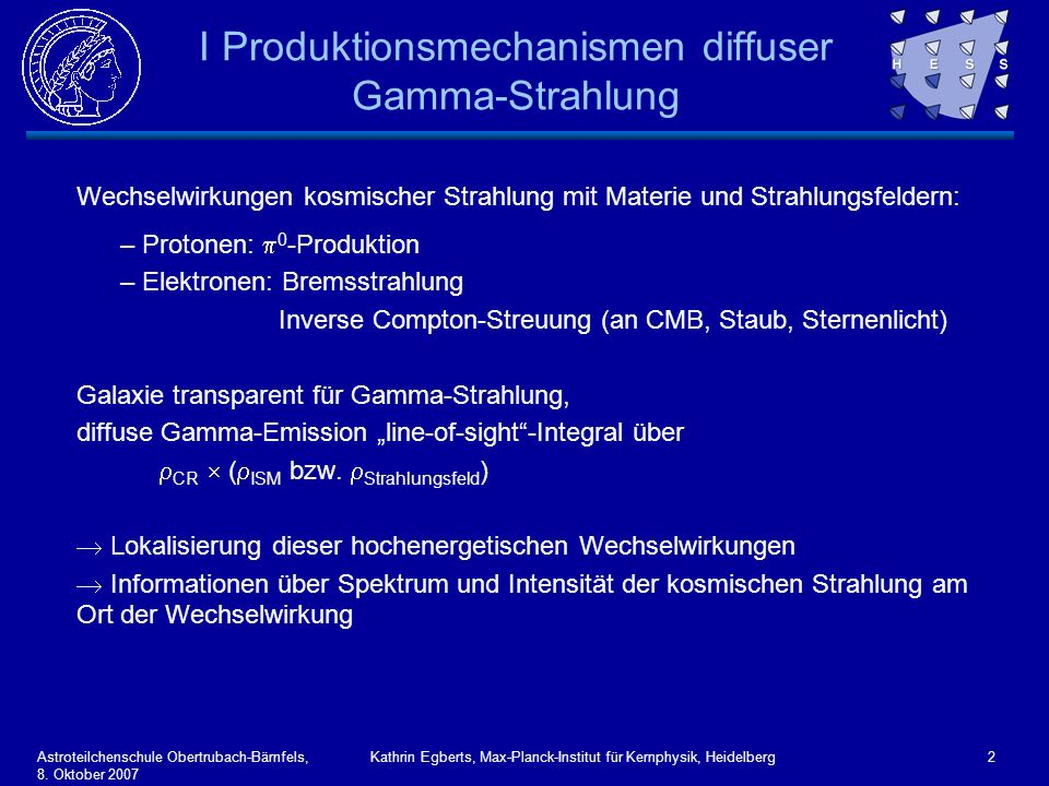 I Produktionsmechanismen diffuser Gamma-Strahlung