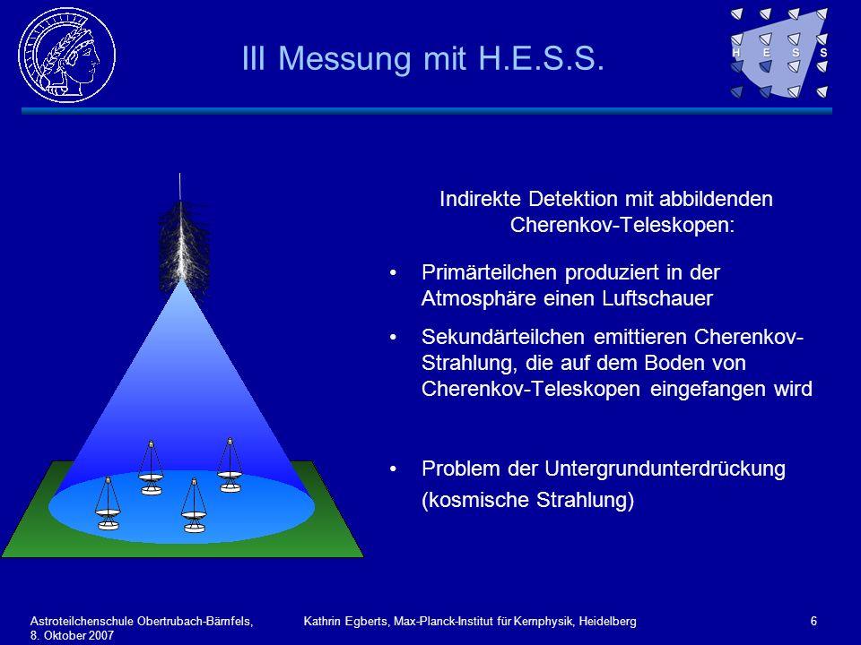 III Messung mit H.E.S.S. Indirekte Detektion mit abbildenden Cherenkov-Teleskopen: Primärteilchen produziert in der Atmosphäre einen Luftschauer.