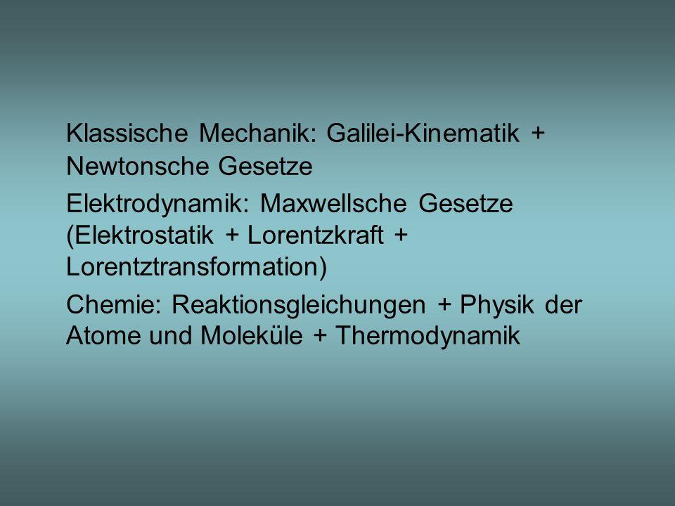 Klassische Mechanik: Galilei-Kinematik + Newtonsche Gesetze