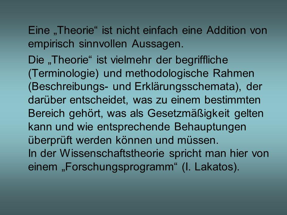"""Eine """"Theorie ist nicht einfach eine Addition von empirisch sinnvollen Aussagen."""