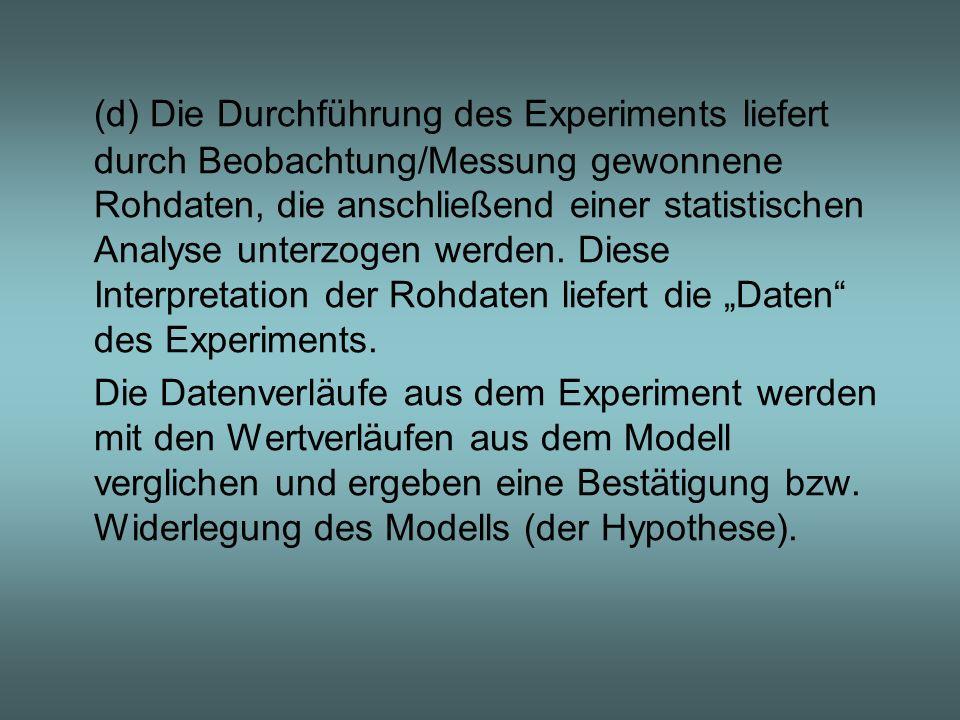 """(d) Die Durchführung des Experiments liefert durch Beobachtung/Messung gewonnene Rohdaten, die anschließend einer statistischen Analyse unterzogen werden. Diese Interpretation der Rohdaten liefert die """"Daten des Experiments."""