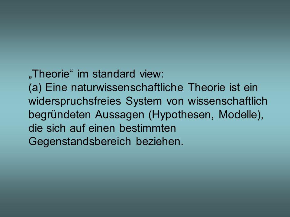 """""""Theorie im standard view: (a) Eine naturwissenschaftliche Theorie ist ein widerspruchsfreies System von wissenschaftlich begründeten Aussagen (Hypothesen, Modelle), die sich auf einen bestimmten Gegenstandsbereich beziehen."""