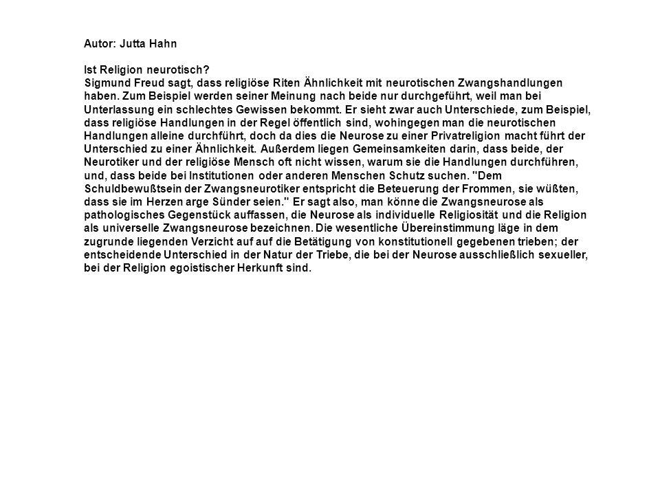 Autor: Jutta Hahn Ist Religion neurotisch