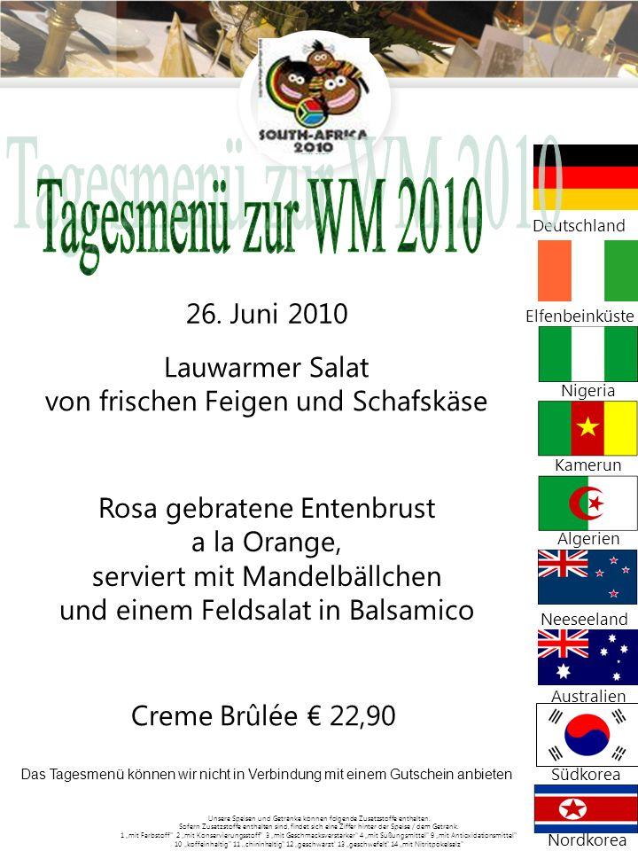 Tagesmenü zur WM 2010 Lauwarmer Salat
