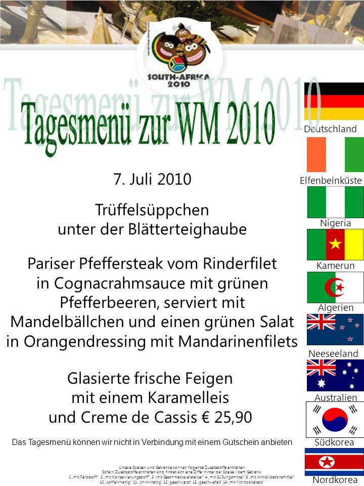 Tagesmenü zur WM 2010 Pariser Pfeffersteak vom Rinderfilet
