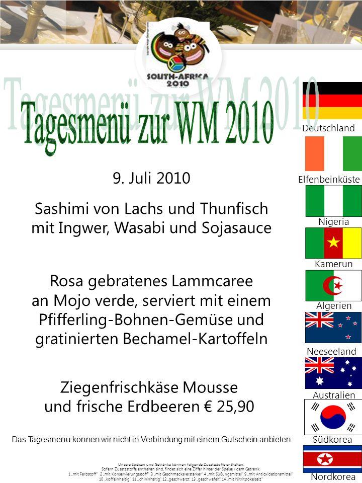 Tagesmenü zur WM 2010 Sashimi von Lachs und Thunfisch