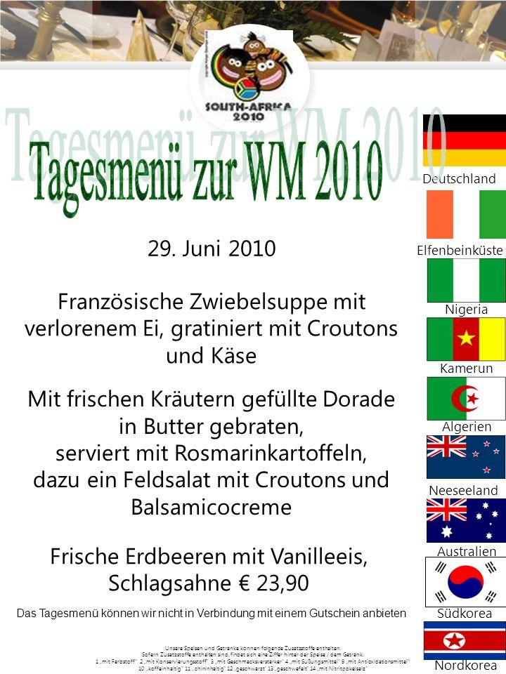 Tagesmenü zur WM 2010 Deutschland. 29. Juni 2010. Elfenbeinküste. Französische Zwiebelsuppe mit verlorenem Ei, gratiniert mit Croutons und Käse.