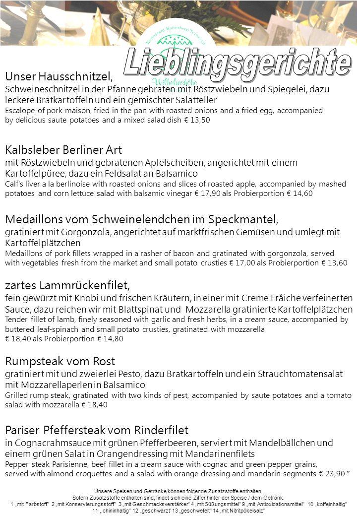 Lieblingsgerichte Unser Hausschnitzel, Kalbsleber Berliner Art