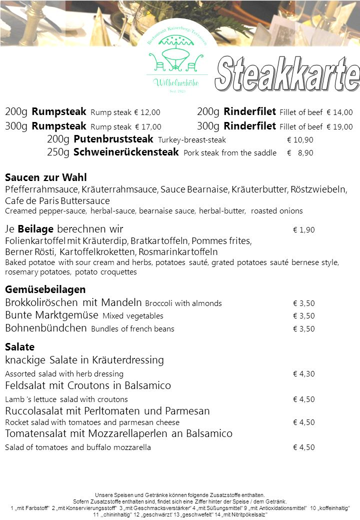 Steakkarte 200g Rumpsteak Rump steak € 12,00 200g Rinderfilet Fillet of beef € 14,00.