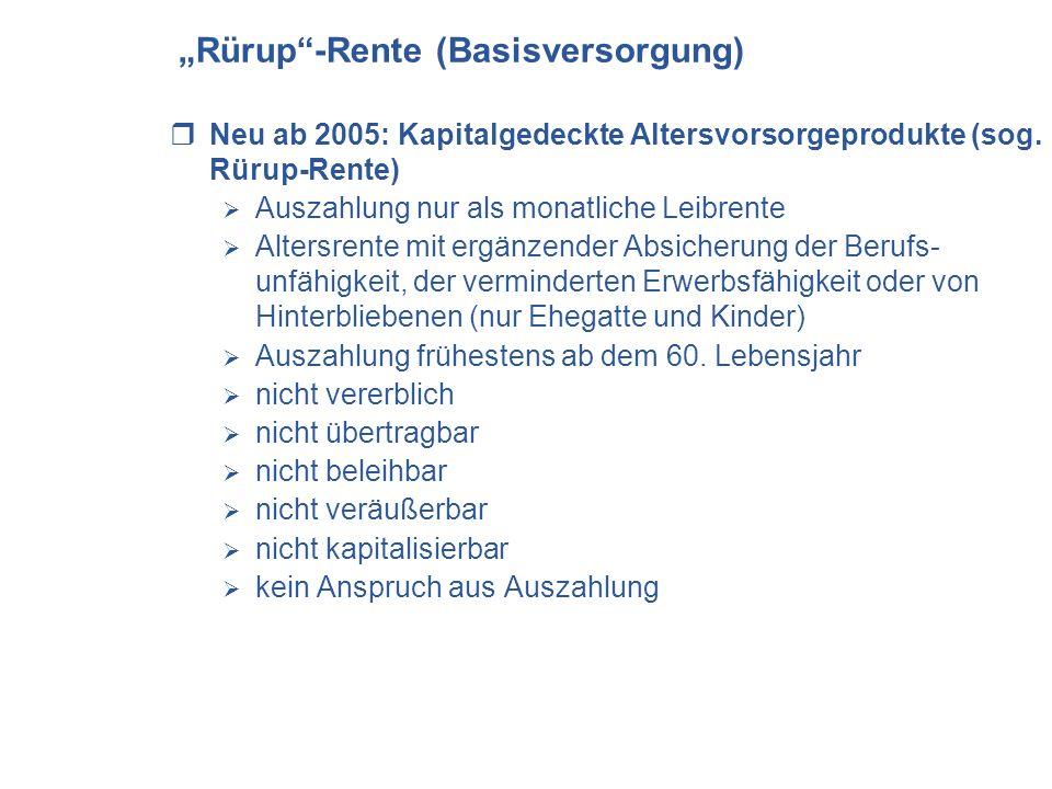 """""""Rürup -Rente (Basisversorgung)"""