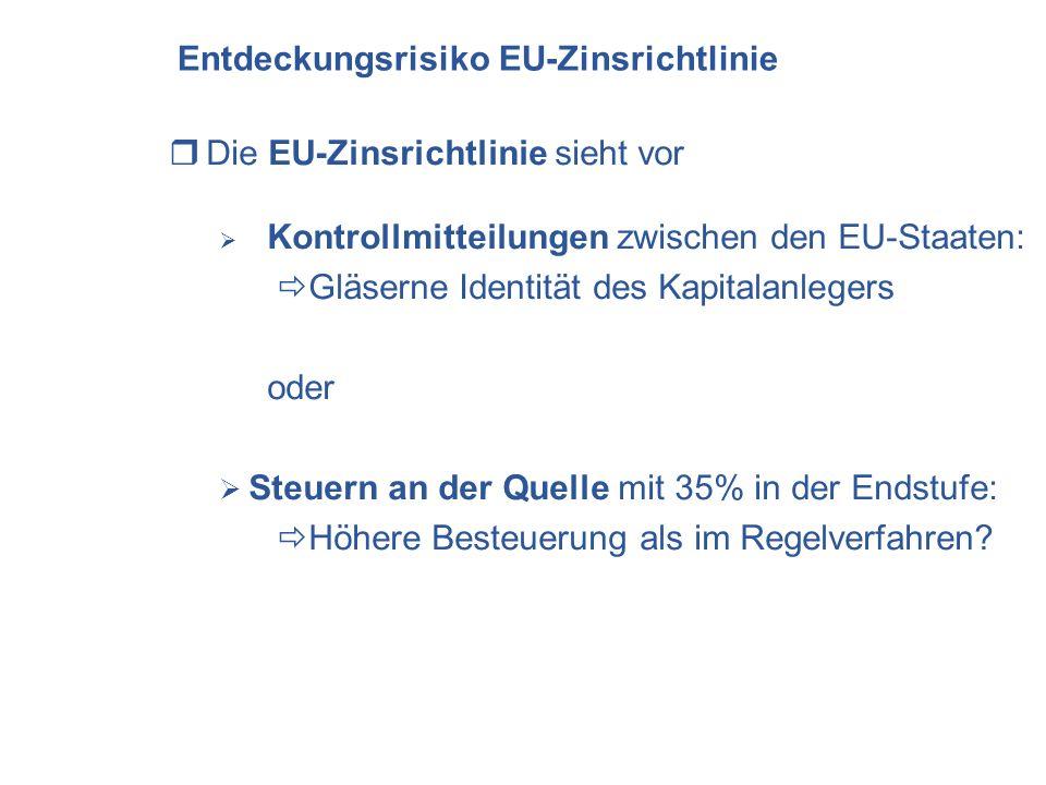 Entdeckungsrisiko EU-Zinsrichtlinie