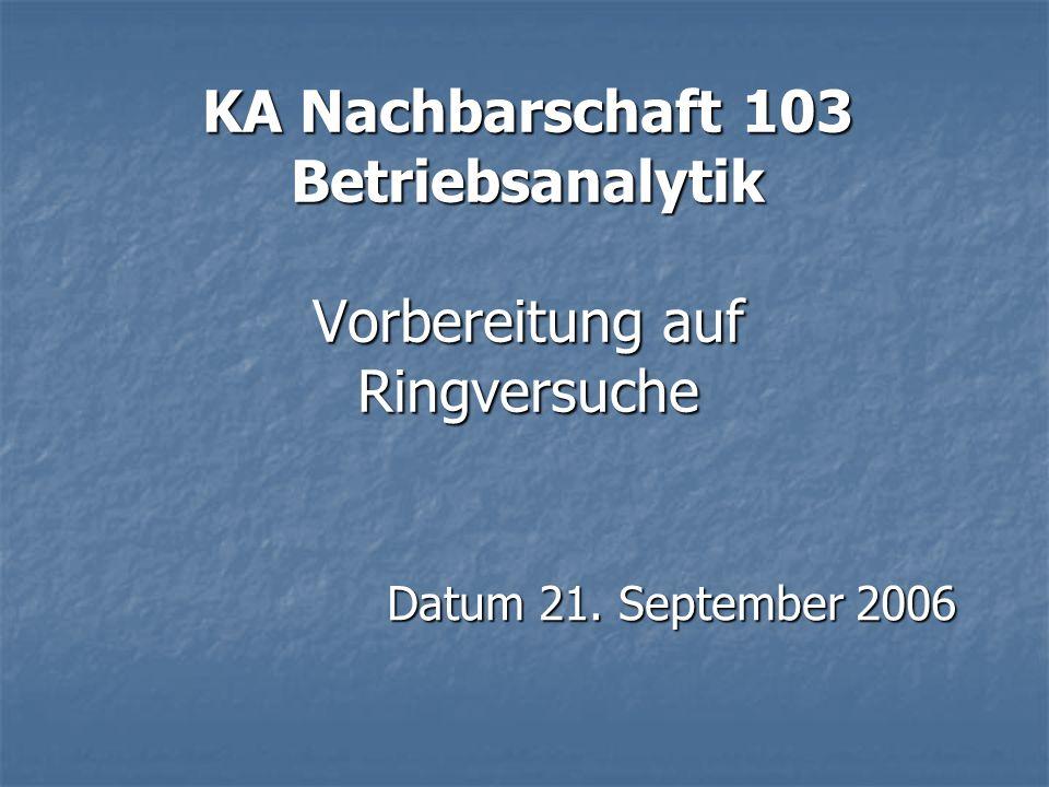 KA Nachbarschaft 103 Betriebsanalytik Vorbereitung auf Ringversuche
