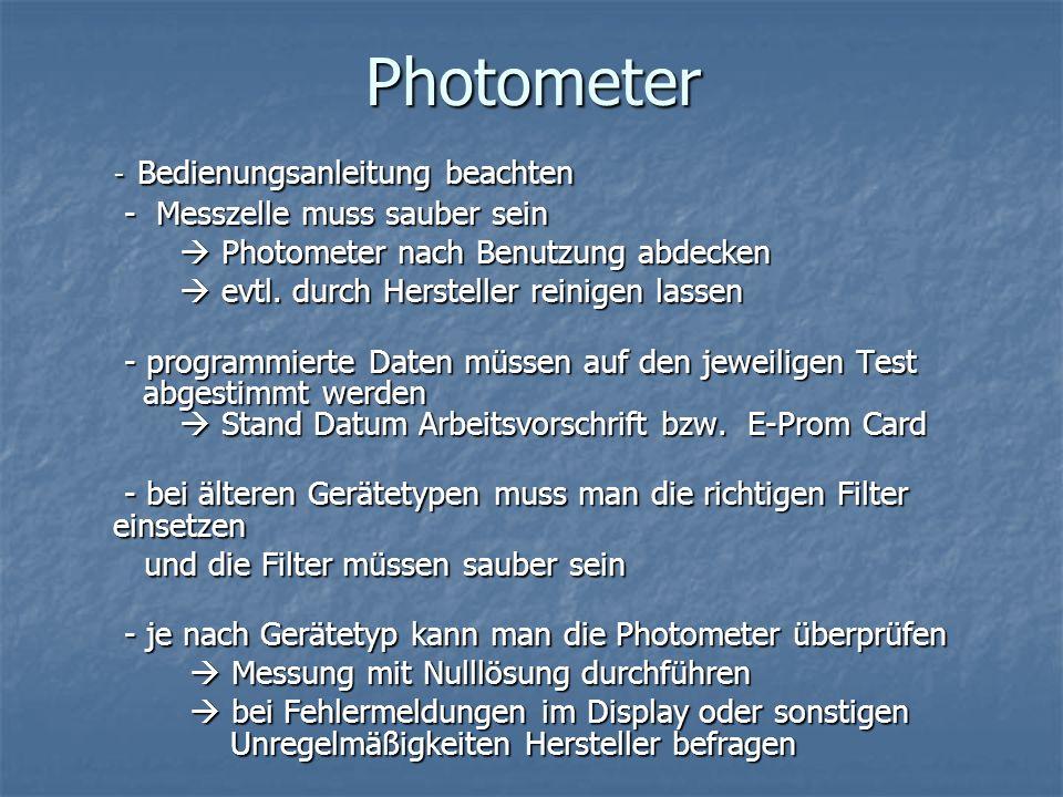 Photometer - Messzelle muss sauber sein